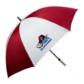 62 Inch Cardinal/White Umbrella-Mascot