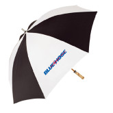 62 Inch Black/White Umbrella-Blue Hose