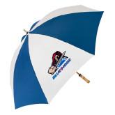 62 Inch Royal/White Umbrella-Mascot