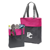 College Charcoal/Tropical Pink Colorblock Tote-PC