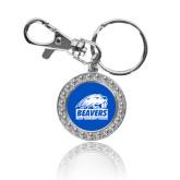 Crystal Studded Round Key Chain-Beaver Head