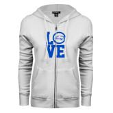 ENZA Ladies White Fleece Full Zip Hoodie-LOVE