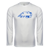 Performance White Longsleeve Shirt-Beaver Head