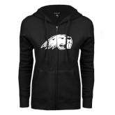 ENZA Ladies Black Fleece Full Zip Hoodie-Beaver Head