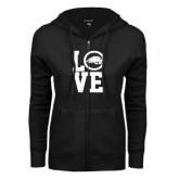 ENZA Ladies Black Fleece Full Zip Hoodie-LOVE