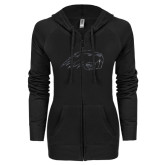 ENZA Ladies Black Light Weight Fleece Full Zip Hoodie-Beaver Head Graphite Glitter
