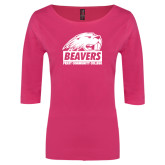 Ladies Dark Fuchsia Perfect Weight 3/4 Sleeve Tee-Official Logo