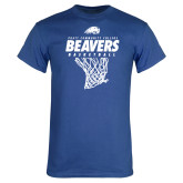 Royal T Shirt-Pratt CC Beavers Basketball w/ Hanging Net