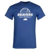 Royal T Shirt-Pratt CC Beavers Volleyball Stacked