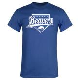 Royal T Shirt-Beavers Baseball Script w/ Plate