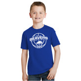 Youth Royal T Shirt-Arched Pratt CC Beavers w/ Ball