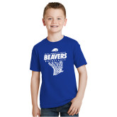 Youth Royal T Shirt-Pratt CC Beavers Basketball w/ Hanging Net