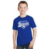 Youth Royal T Shirt-Beavers Baseball Script w/ Plate