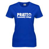 Ladies Royal T Shirt-Pratt Community College w/ Building Icon