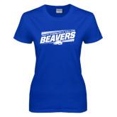 Ladies Royal T Shirt-Slanted Pratt Community College Beavers