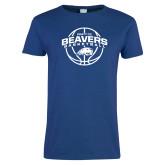 Ladies Royal T Shirt-Arched Pratt CC Beavers w/ Ball