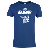 Ladies Royal T Shirt-Pratt CC Beavers Basketball w/ Hanging Net