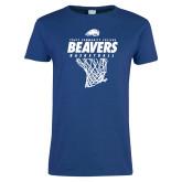 Ladies Royal T Shirt-Pratt CC Beavers Basketball w/ Hanging Net