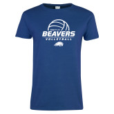 Ladies Royal T Shirt-Pratt CC Beavers Volleyball Stacked