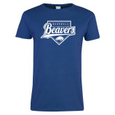 Ladies Royal T Shirt-Beavers Baseball Script w/ Plate