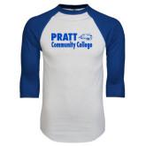 White/Royal Raglan Baseball T Shirt-Pratt Community College w/ Beaver Head