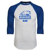 White/Royal Raglan Baseball T Shirt-Dad