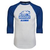 White/Royal Raglan Baseball T Shirt-Alumni