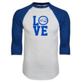 White/Royal Raglan Baseball T Shirt-LOVE