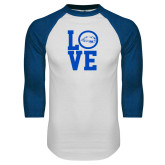White/Royal Raglan Baseball T Shirt-LOVE