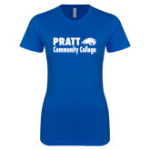 Next Level Ladies SoftStyle Junior Fitted Royal Tee-Pratt Community College w/ Beaver Head