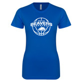 Next Level Ladies SoftStyle Junior Fitted Royal Tee-Arched Pratt CC Beavers w/ Ball