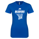 Next Level Ladies SoftStyle Junior Fitted Royal Tee-Pratt CC Beavers Basketball w/ Hanging Net