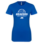 Next Level Ladies SoftStyle Junior Fitted Royal Tee-Pratt CC Beavers Volleyball Stacked