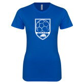 Next Level Ladies SoftStyle Junior Fitted Royal Tee-Soccer Shield w/ Logo