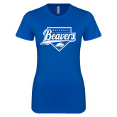 Next Level Ladies SoftStyle Junior Fitted Royal Tee-Beavers Baseball Script w/ Plate