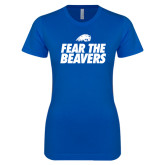 Next Level Ladies SoftStyle Junior Fitted Royal Tee-Fear The Beavers