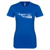 Next Level Ladies SoftStyle Junior Fitted Royal Tee-Beaver Wrestling Distressed