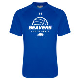 Under Armour Royal Tech Tee-Pratt CC Beavers Volleyball Stacked