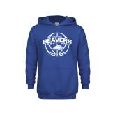 Youth Royal Fleece Hoodie-Arched Pratt CC Beavers w/ Ball