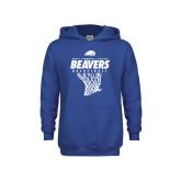 Youth Royal Fleece Hoodie-Pratt CC Beavers Basketball w/ Hanging Net