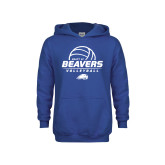 Youth Royal Fleece Hoodie-Pratt CC Beavers Volleyball Stacked