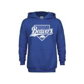 Youth Royal Fleece Hoodie-Beavers Baseball Script w/ Plate
