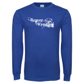 Royal Long Sleeve T Shirt-Beaver Wrestling Distressed