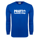Royal Long Sleeve T Shirt-Pratt Community College w/ Building Icon
