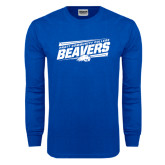 Royal Long Sleeve T Shirt-Slanted Pratt Community College Beavers