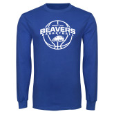 Royal Long Sleeve T Shirt-Arched Pratt CC Beavers w/ Ball