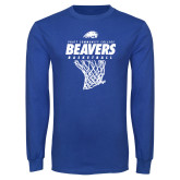 Royal Long Sleeve T Shirt-Pratt CC Beavers Basketball w/ Hanging Net
