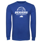 Royal Long Sleeve T Shirt-Pratt CC Beavers Volleyball Stacked
