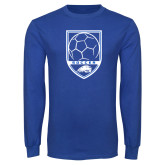 Royal Long Sleeve T Shirt-Soccer Shield w/ Logo