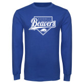 Royal Long Sleeve T Shirt-Beavers Baseball Script w/ Plate